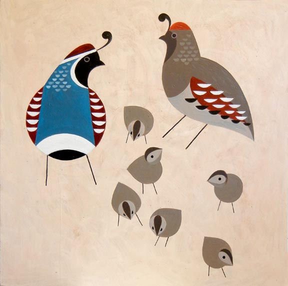 Scott Partridge painting - gambel's quail family