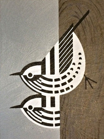 Scott Partridge - painting - black and white warbler