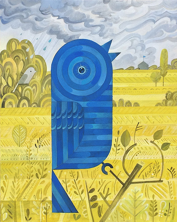 Scott Partridge - painting - The Blue Bunting