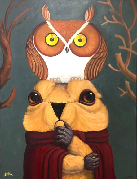 Scott Partridge - painting - marmot and owl