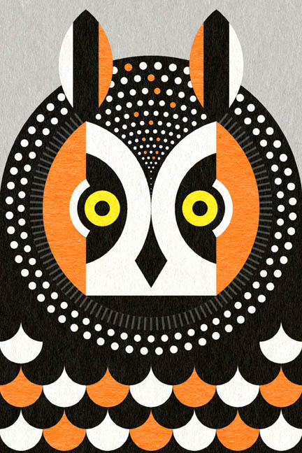 long eared owl - illustration - scott partridge